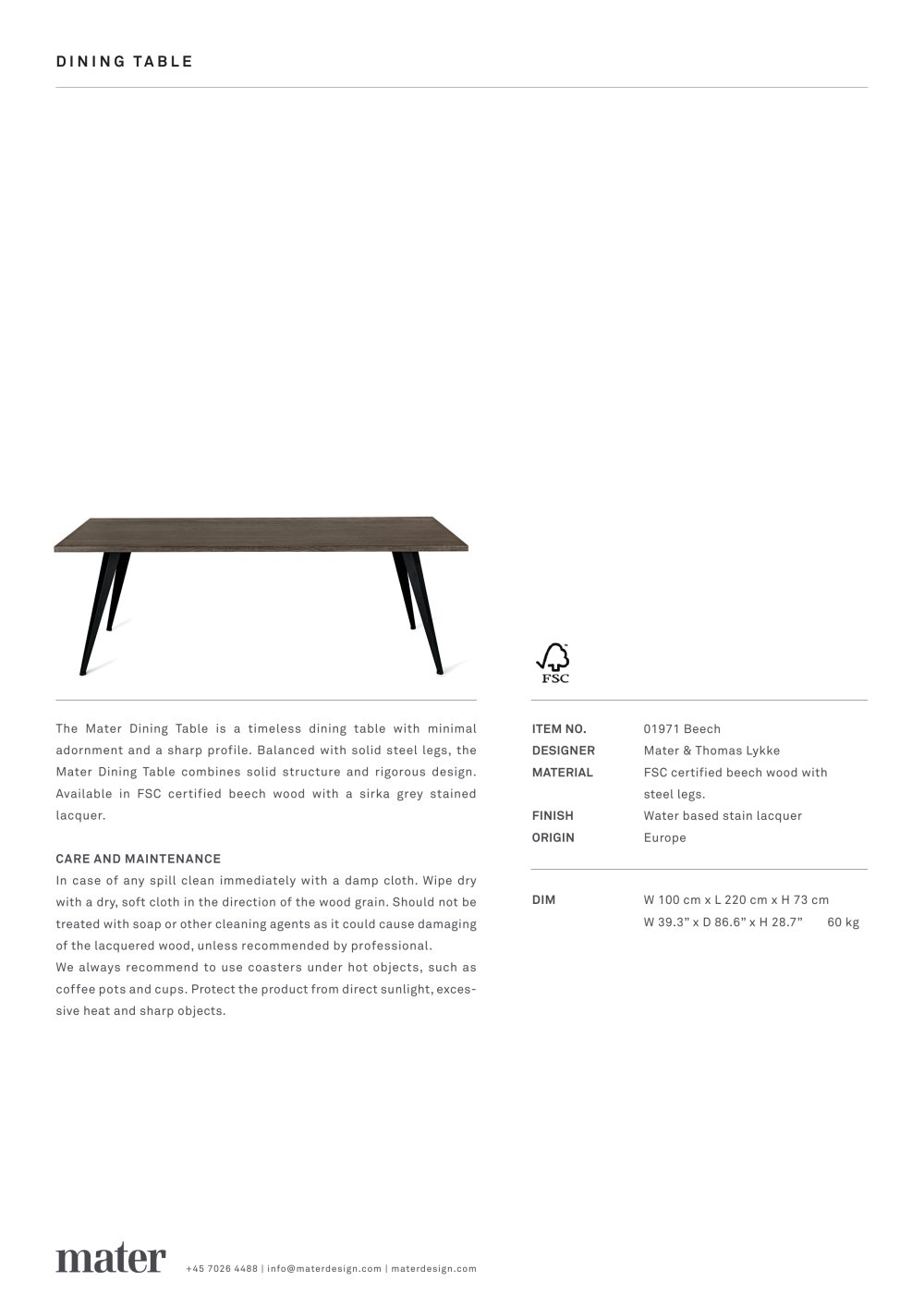 DINING TABLE - Mater Design - PDF Catalogs | Documentation | Brochures