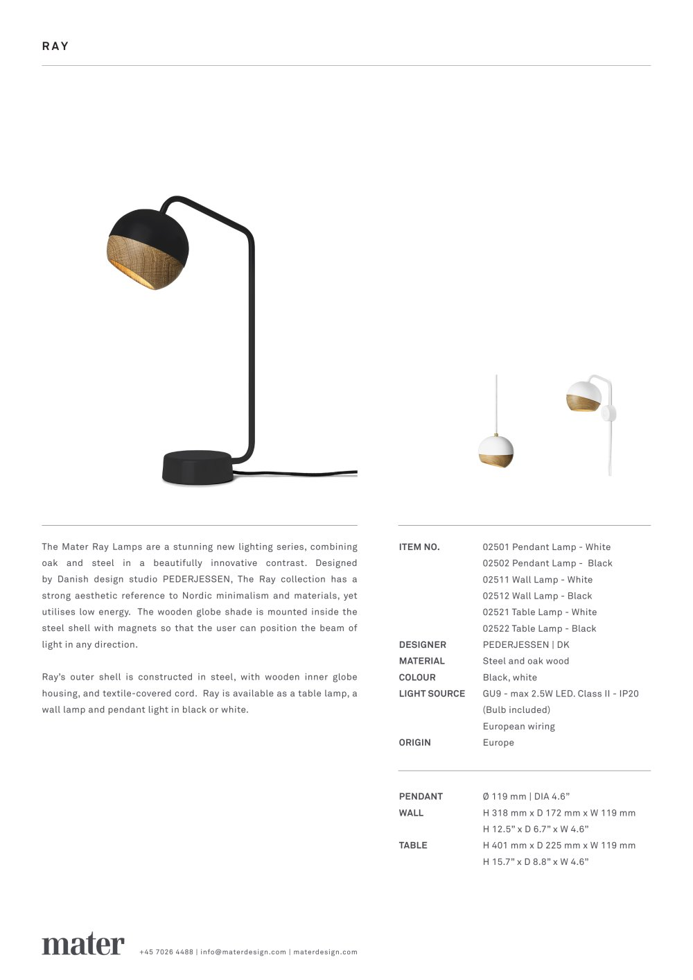 Ray Lamp Mater Design Pdf Catalogues Documentation Brochures Wiring A Wooden 1 Pages