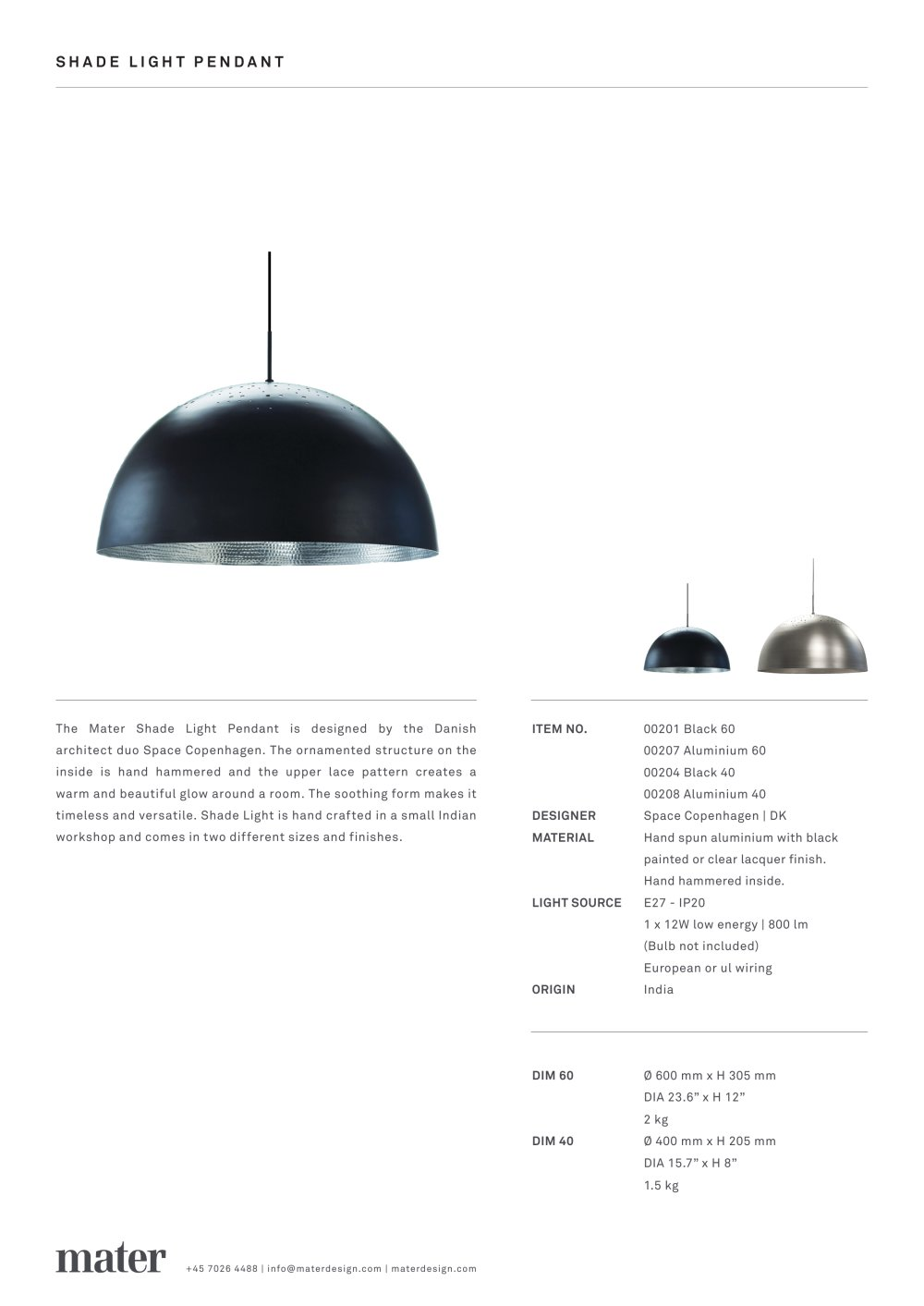 Shade Light Pendant Mater Design Pdf Catalogues Documentation Wiring Diagram 1 Pages