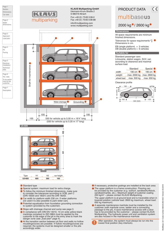 Minimum Gmbh multibase u3 klaus multiparking gmbh pdf catalogues