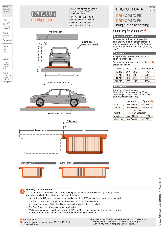Minimum Gmbh parkboard pe/ph - klaus multiparking gmbh - pdf catalogs