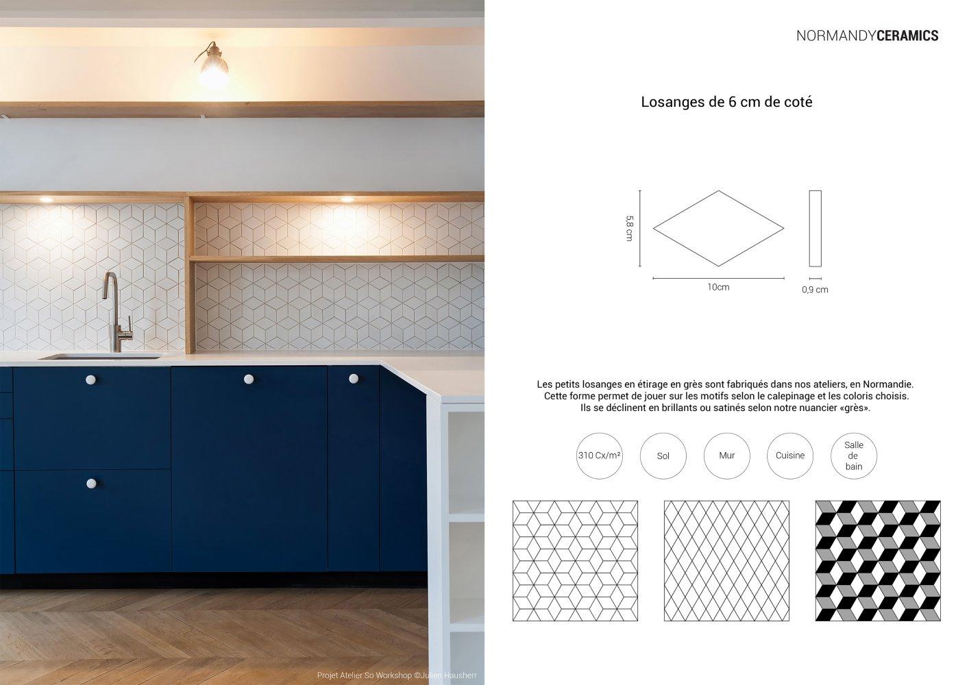 Fiche ProduitPetit LosangeNormandy Ceramics Normandy Ceramics - Carrelage losange
