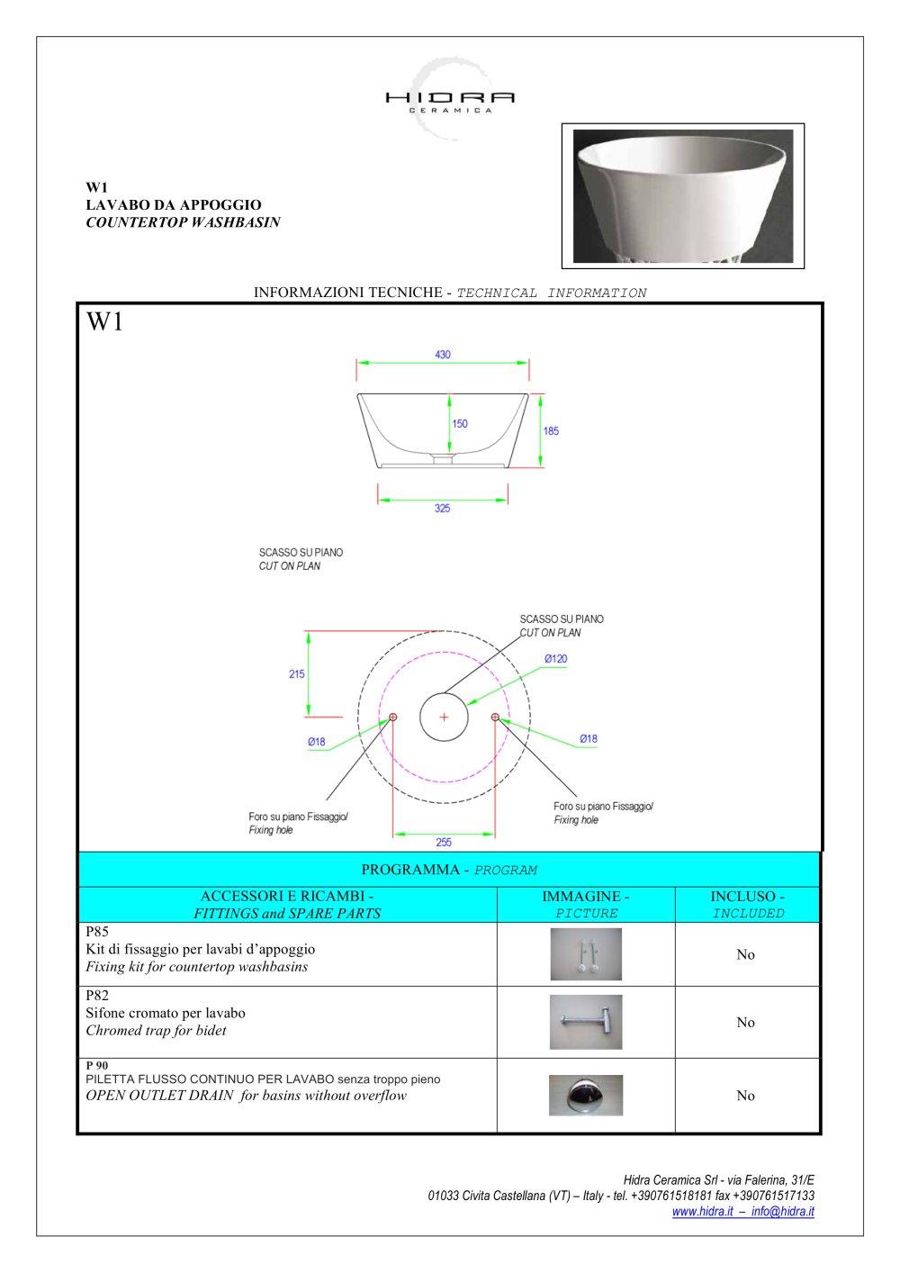 Hidra Ceramica Srl Civita Castellana.W1 Wire 43 Technical Sheet Basin 43 W1 Hidra Pdf