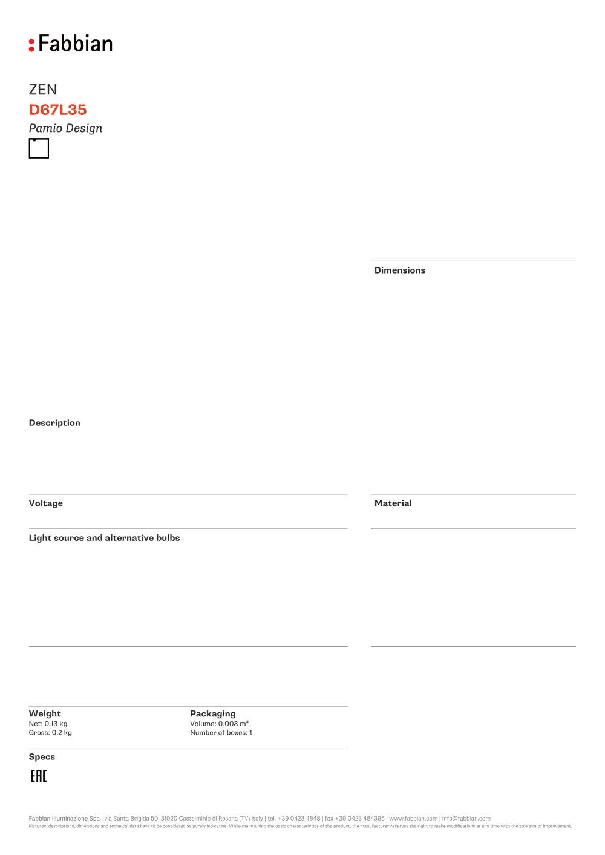 D67 L35 - FABBIAN ILLUMINAZIONE - PDF Catalogues | Documentation ...