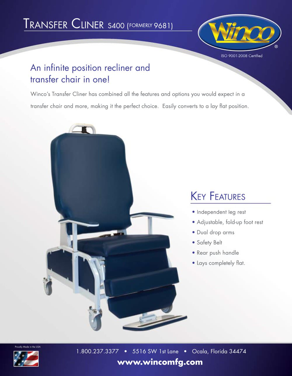 S400 - Transfer Recliner - Winco Mfg, LLC - PDF Catalogues ...