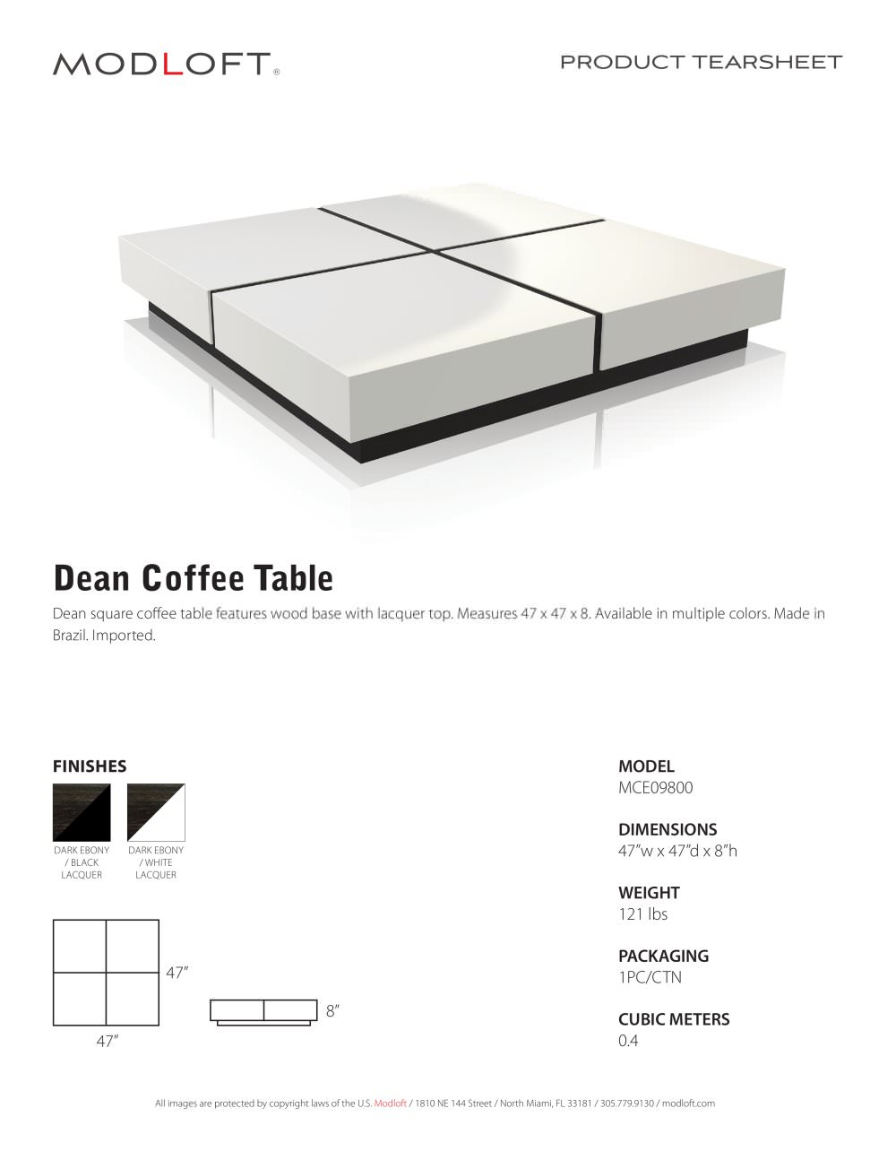 Dean Coffee Table   1 / 1 Pages