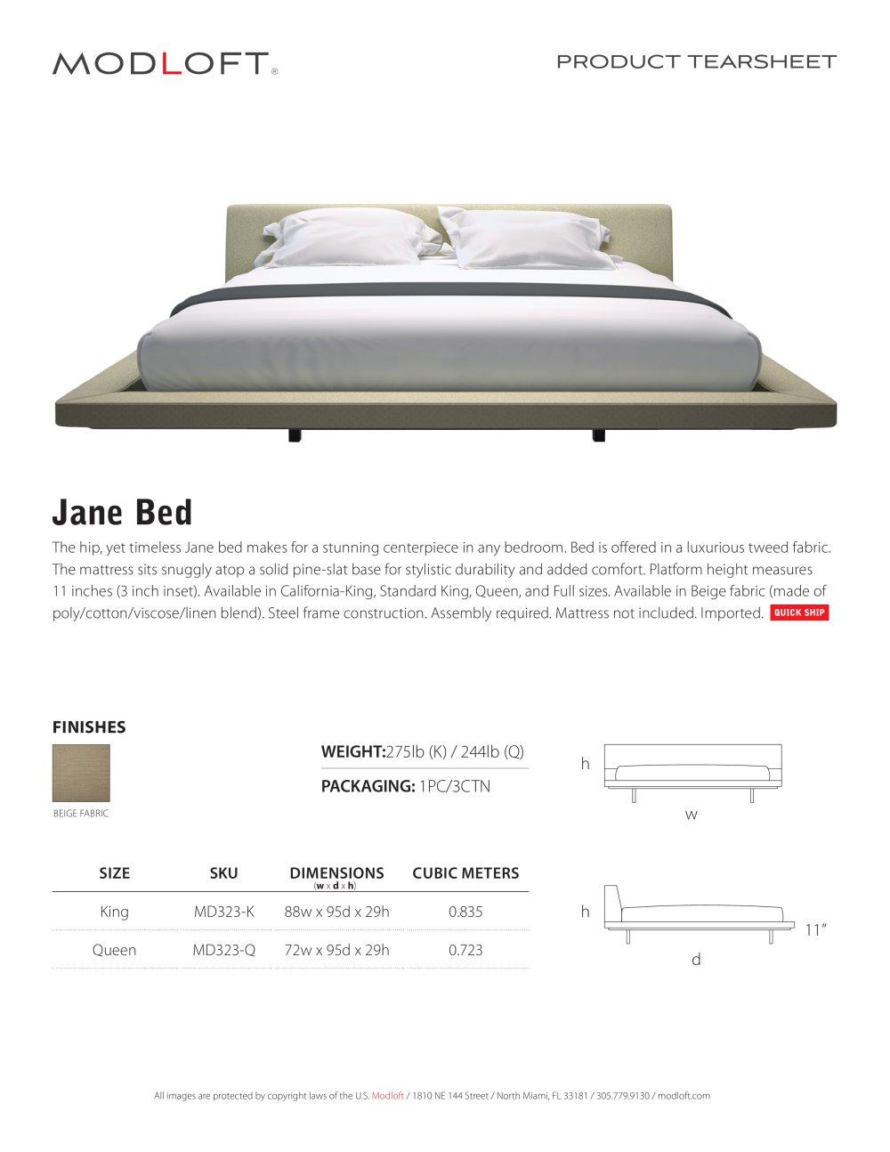 jane bed - modloft - pdf catalogues   documentation   brochures