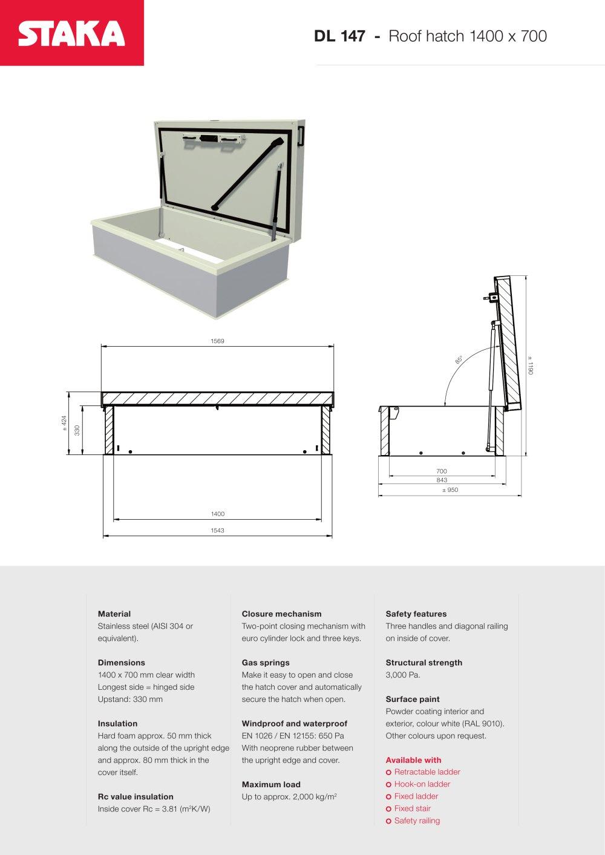Roof Access Hatch DL147 (1400x700)   1 / 1 Pages