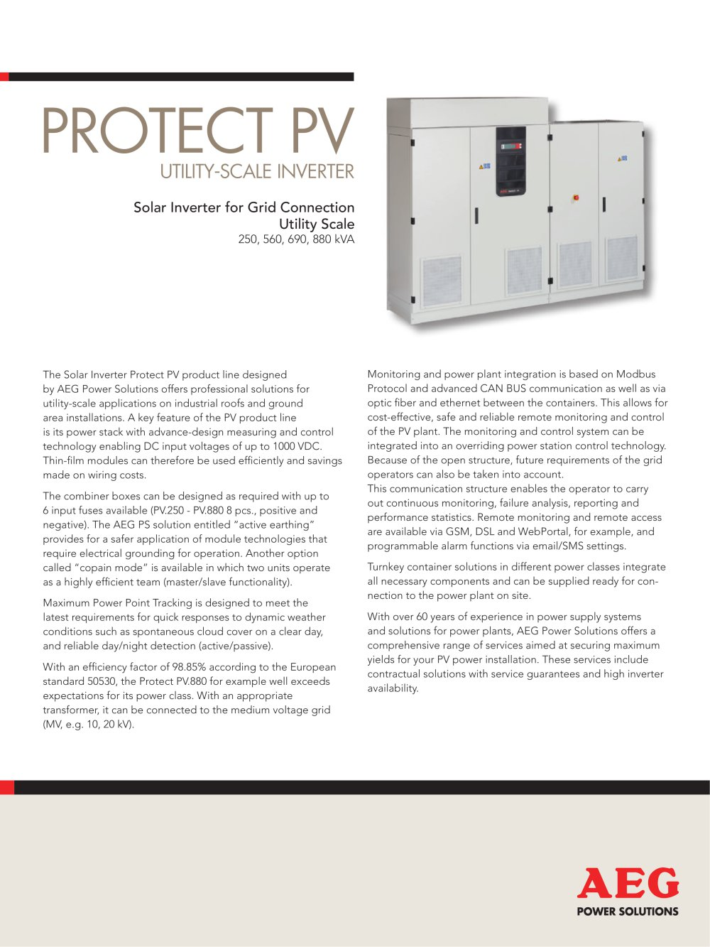 Protect Pv Utility Scale Inverter Aeg Power Solutions Pdf Wiring Combiner Box 1 2 Pages