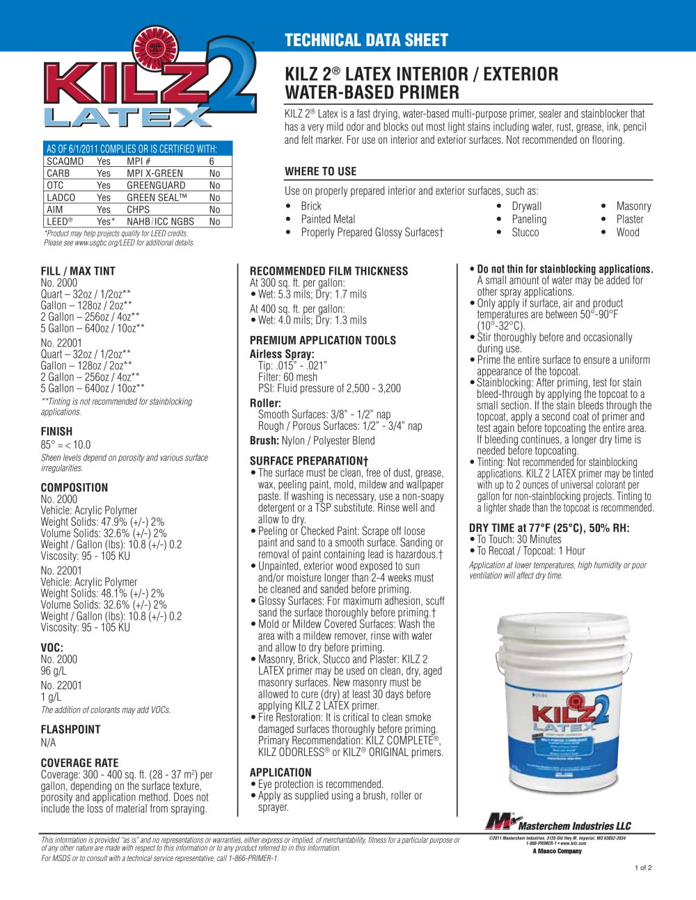 KILZ 2® LATEX INTERIOR / EXTERIOR WATER-BASED PRIMER - KILZ - PDF ...