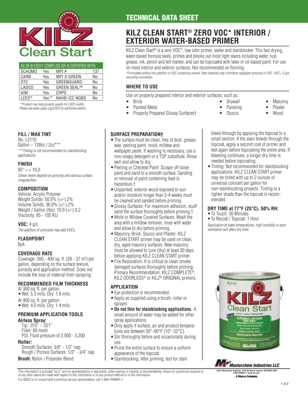 KILZ CLEAN START® ZERO VOC* INTERIOR / EXTERIOR WATER-BASED PRIMER ...