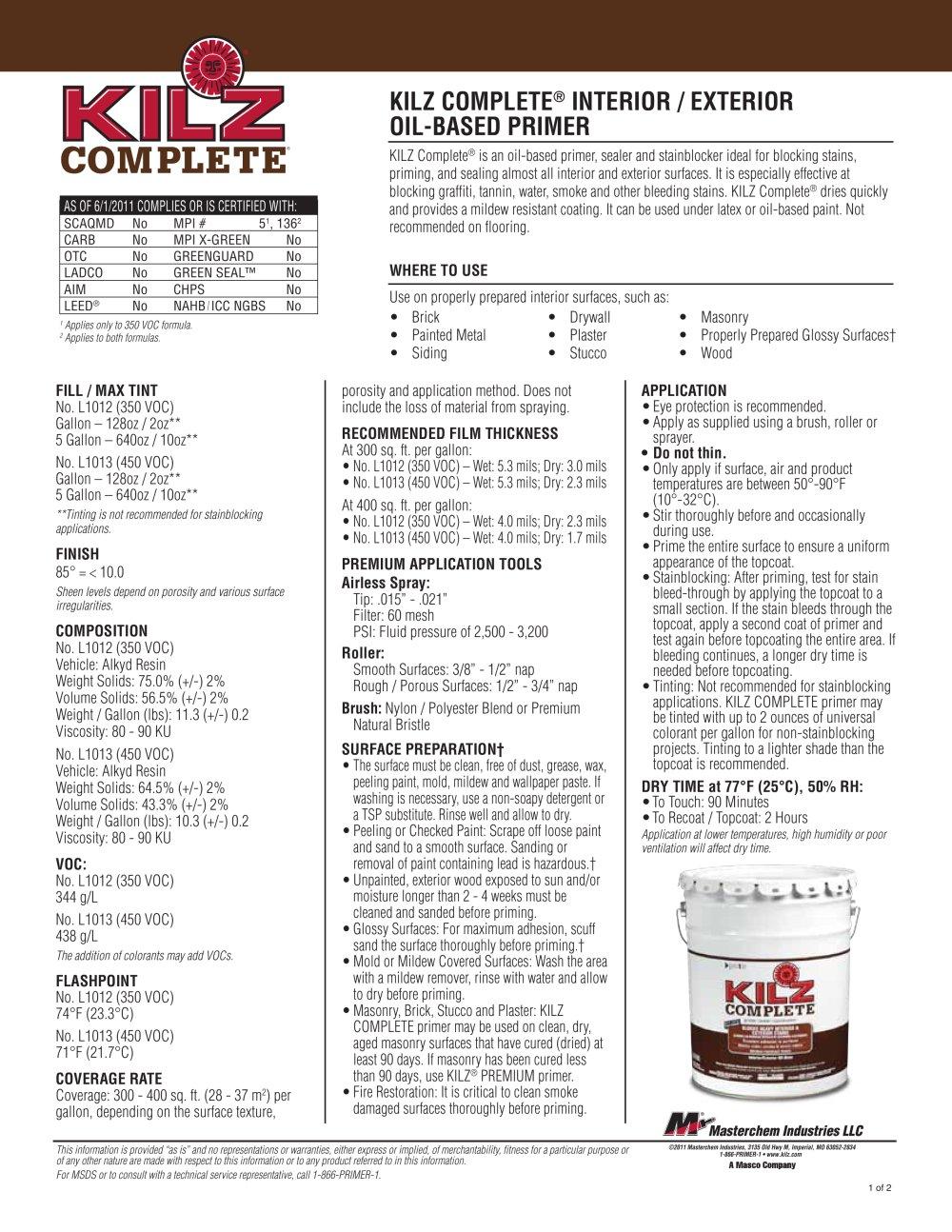 KILZ COMPLETE® INTERIOR / EXTERIOR OIL BASED PRIMER   1 / 4 Pages