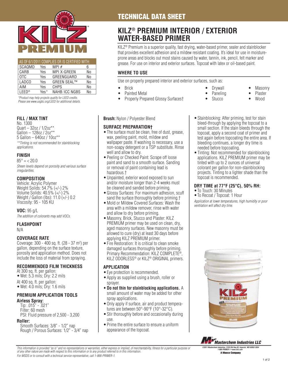 Lovely KILZ® PREMIUM INTERIOR / EXTERIOR WATER BASED PRIMER   1 / 2 Pages