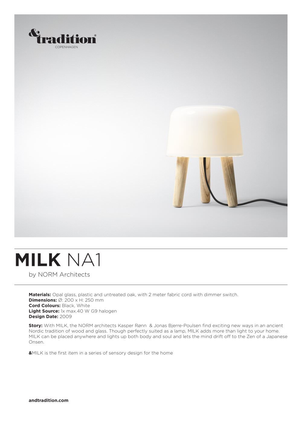 Milk NA1 info - Andtradition - PDF Catalogues | Documentation ...