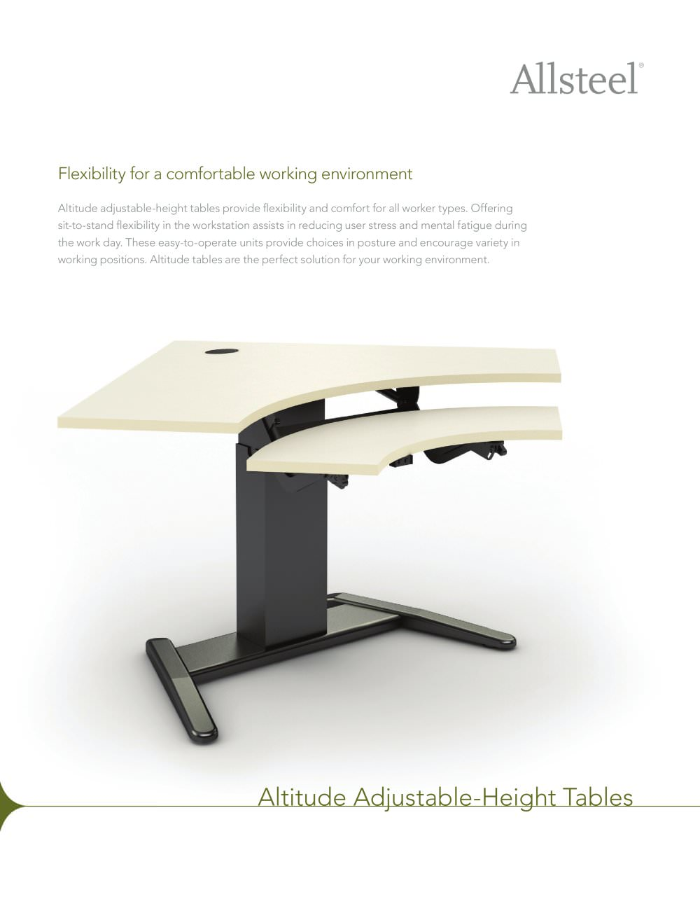 Altitude Adjustable Height Tables Sell Sheet   1 / 2 Pages