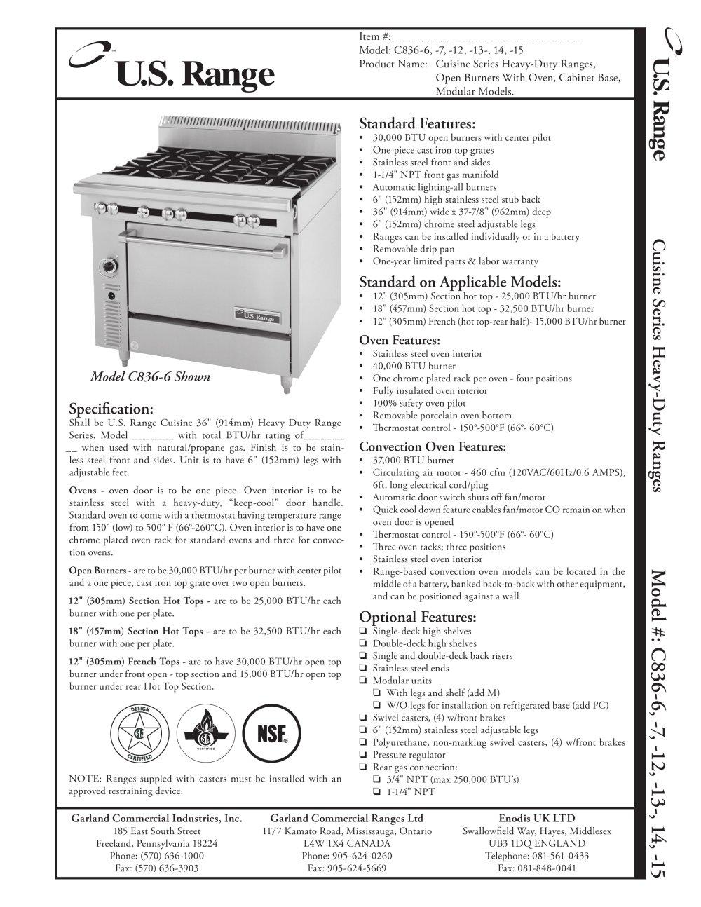 Cuisine Series Open Burner Ranges C Garland PDF - Cuisine 14m2
