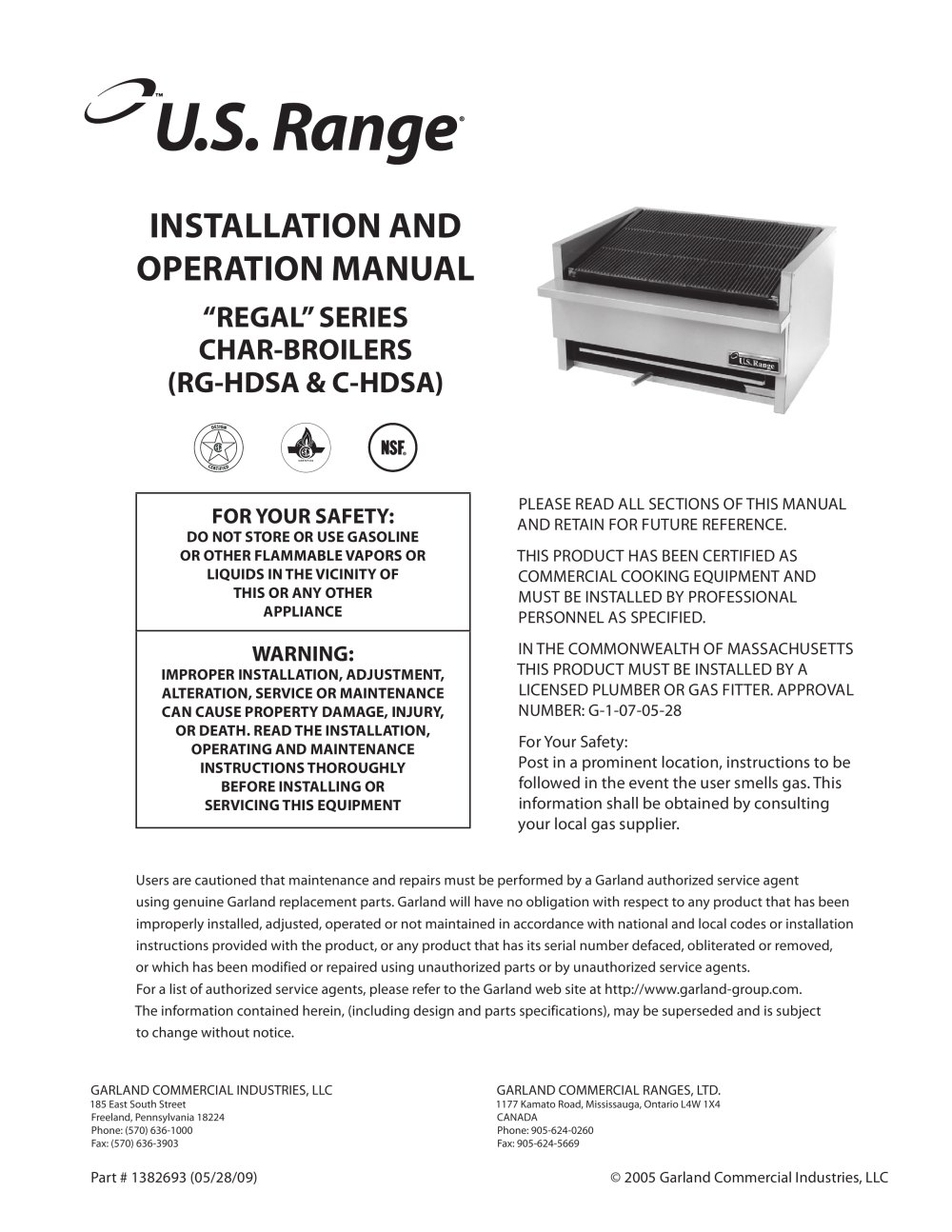InstallationOperation Manual All RGHDSA CHDSA Series Gas – Operation Manual