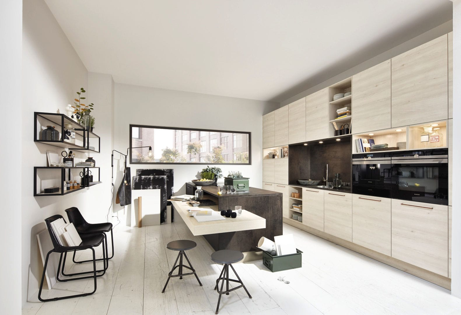 Elegant Cozinha Contemporânea / Em Melamina / Com Ilha / Com Pegas