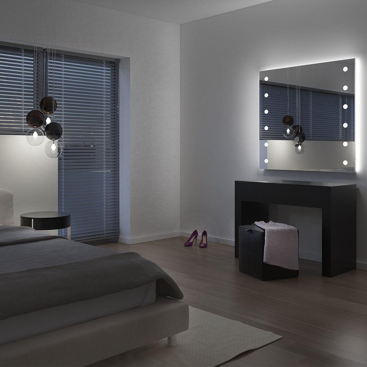 Espelho De Parede Com Ilumina O Para Sala Para Quarto Mh04