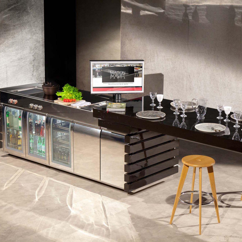 Cozinha Contempor Nea Em Inox Com Ilha Compacta Fantesca