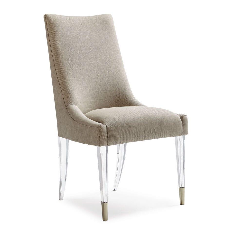 Cadeira De Sala De Jantar Cl Ssica Estofada Em Tecido Em  -> Cadeiras Para Sala De Jantar Acrilico
