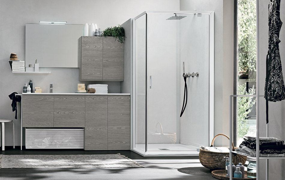 Gabinete de banheiro suspenso / em madeira / contemporâneo / com ...