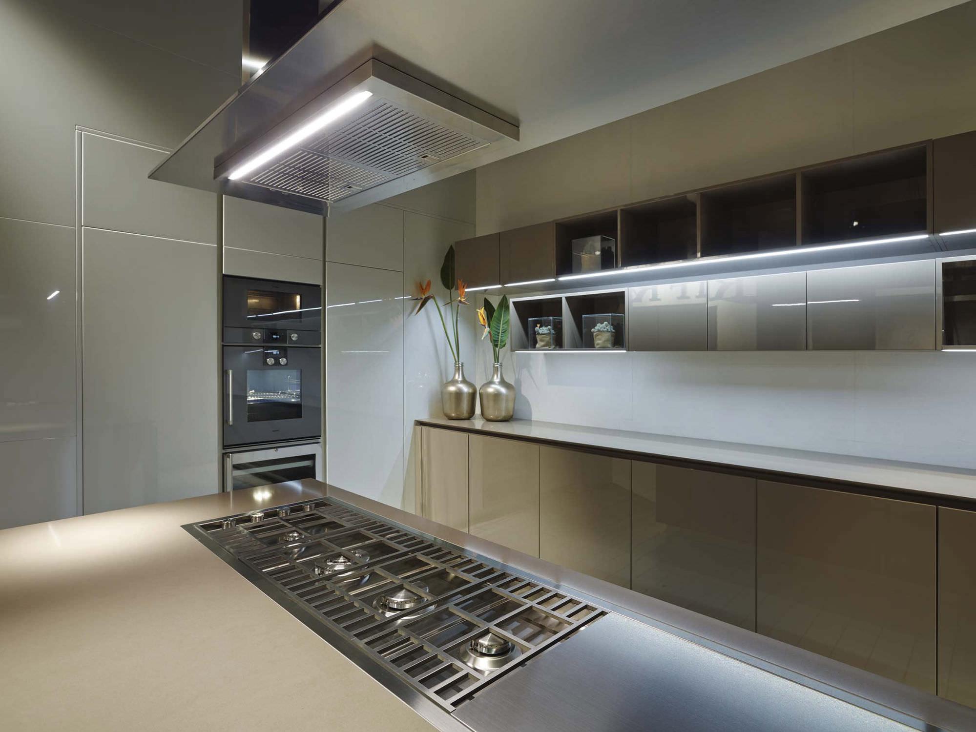 Coifa De Cozinha De Ilha Embutida Na Bancada Com Ilumina O