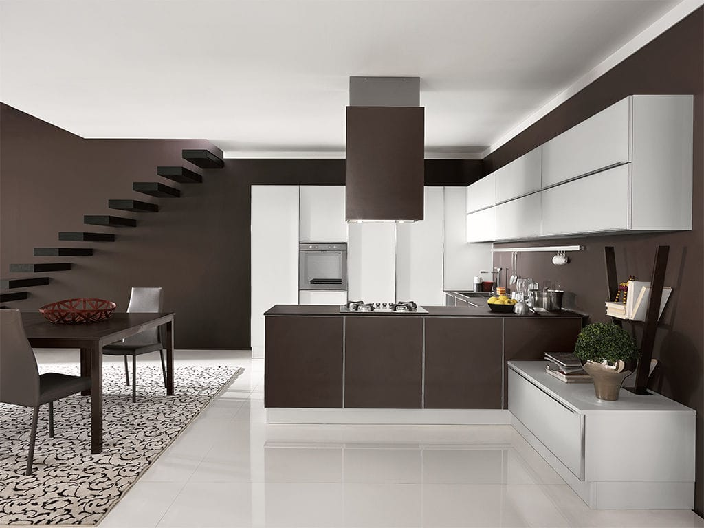 Cozinha Contempor Nea Com Folheado De Madeira Com Ilha Redonda