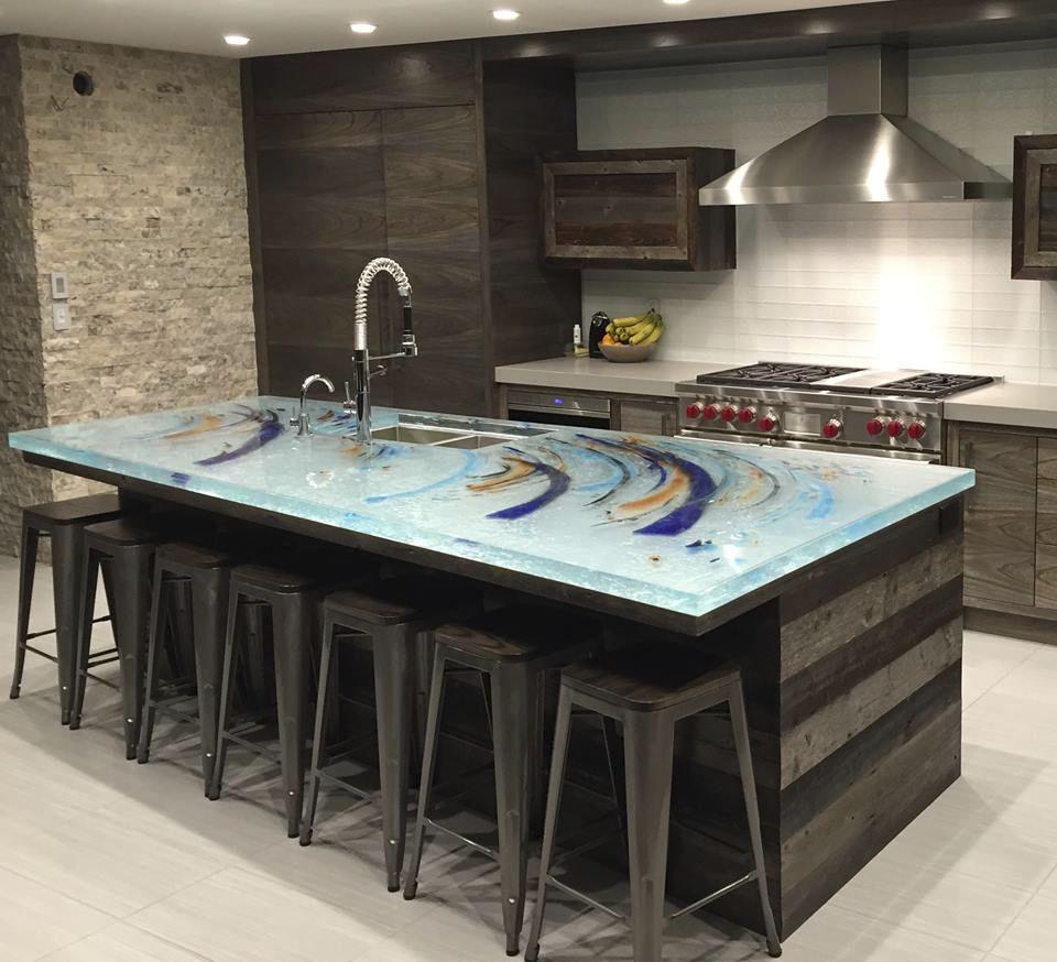 Tampo De Bancada Em Vidro Para Cozinha Para Ambiente Externo