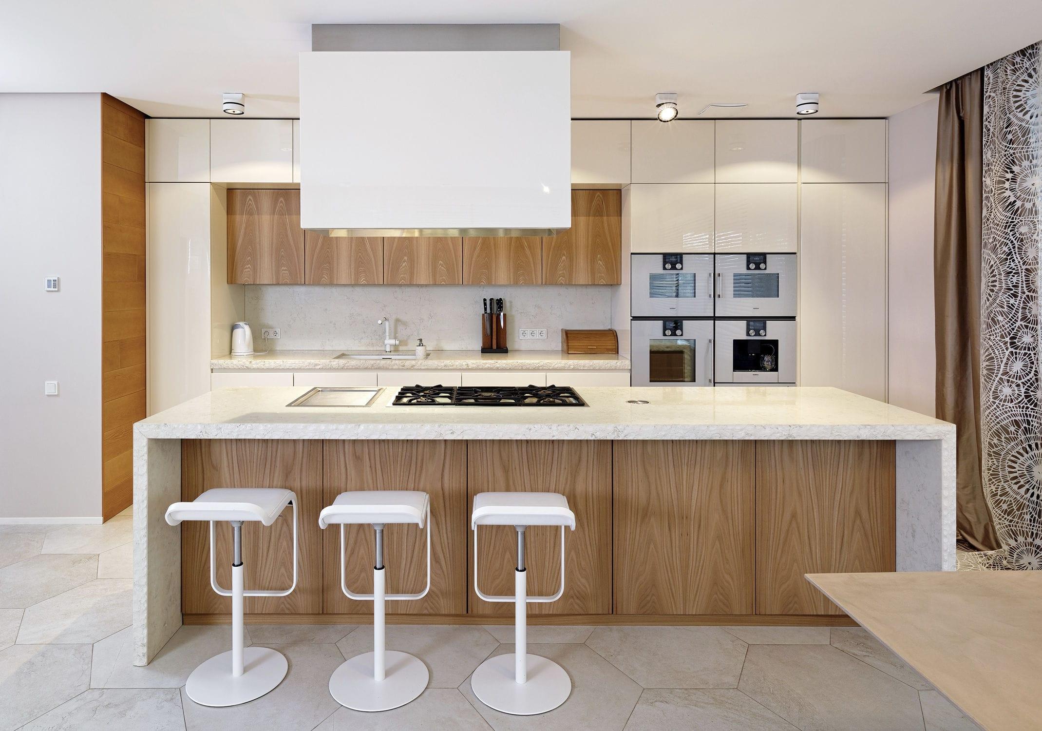 Cozinha Contempor Nea Em Pedra Em Olmo Em Madeira Lacada
