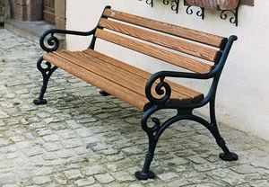 Banco Para Espaço Público / Clássico / Em Madeira / Em Ferro Fundido
