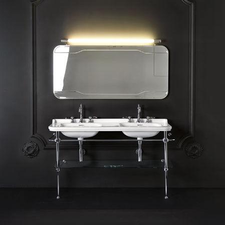 gabinete de banheiro duplo / de piso / metálico / contemporâneo