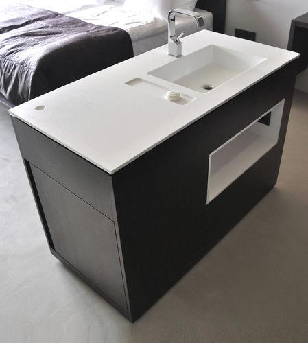 gabinete de banheiro de piso / em madeira / contemporâneo