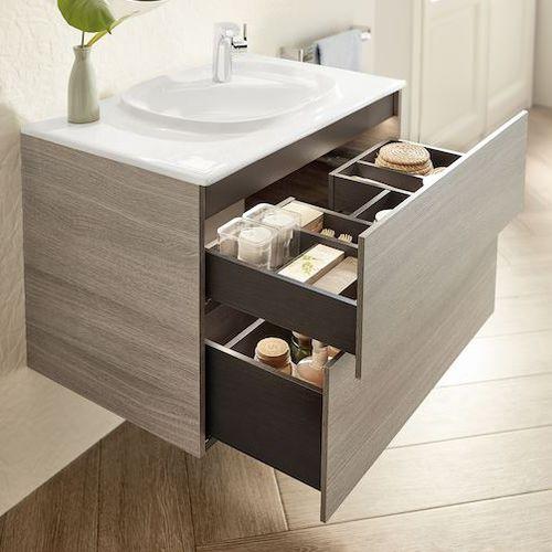 gabinete de banheiro suspenso / em aglomerado / contemporâneo / com gavetas