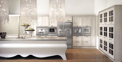 cozinha contemporânea / em madeira maciça / em madeira lacada / em mármore