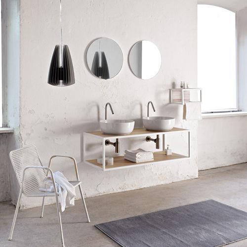 gabinete de banheiro duplo / suspenso / em madeira / contemporâneo