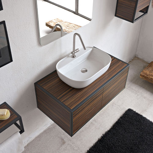 gabinete de banheiro de parede / em madeira / contemporâneo / com espelho