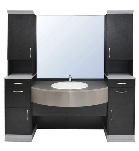 gabinete de banheiro de piso / em madeira / contemporâneo / com espelho