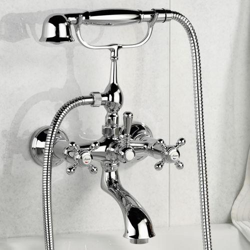misturador bicomando para banheira / de parede / em metal cromado / para banheiro