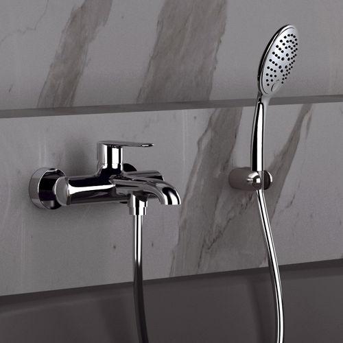 misturador monocomando para box de banheiro / para banheira / de parede / em latão cromado