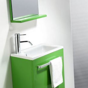 gabinete de banheiro suspenso / em resina / contemporâneo / com espelho