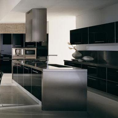 cozinha contemporânea / em alumínio / em laminado / com ilha