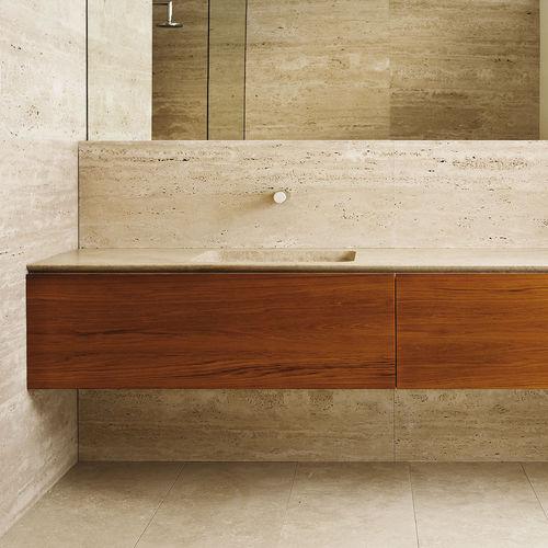 gabinete de banheiro suspenso / em pedra natural / em madeira / contemporâneo