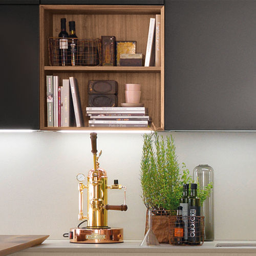 estante de parede / contemporânea / em madeira / para cozinha