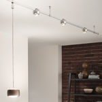 luminária de trilho de LED / curva / metálica / em vidro