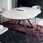 mesa contemporânea / metálica / em cerâmica / redonda
