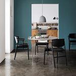 cadeira design escandinavo / com braços / em carvalho / de sala de jantar