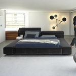 cama de casal / contemporânea / com cabeceira estofada / com cabeceira em couro