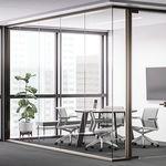 divisória fixa / em vidro / para escritório / acústica