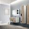 gabinete de banheiro suspenso / em madeira / contemporâneo / com prateleiras